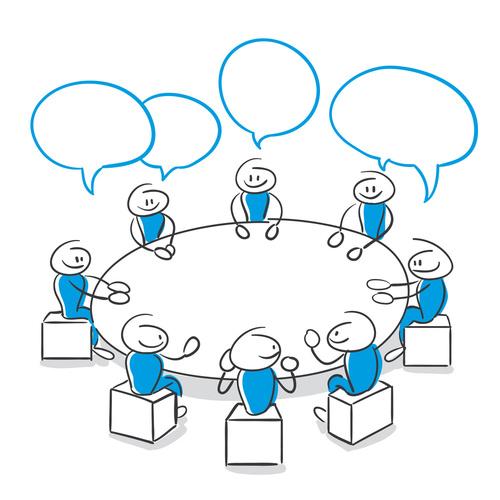 Stick Figure Series Blue / Meeting